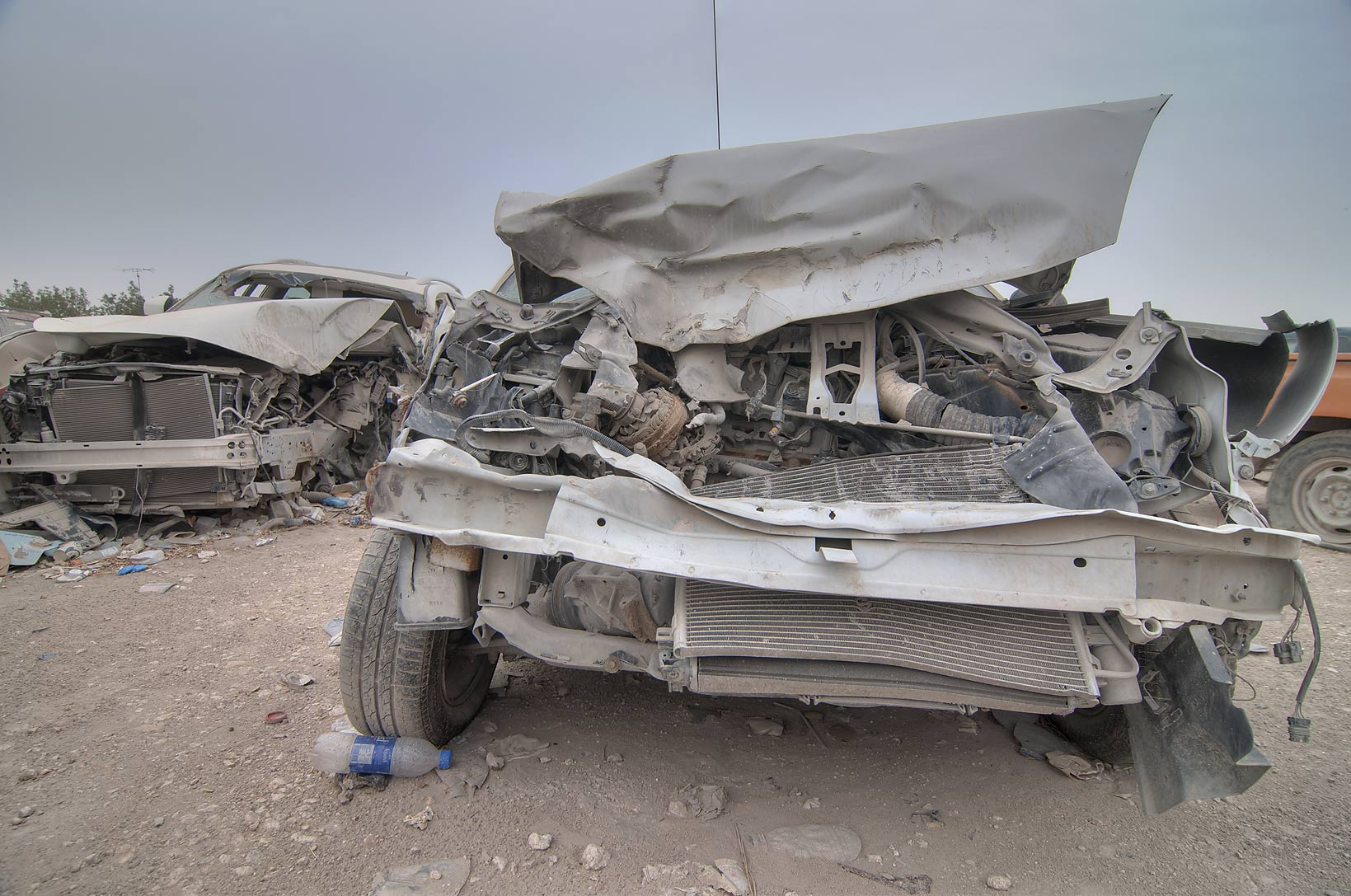 Cars suffered in accidents near Al Mamoura...Wholesale Markets area. Doha, Qatar