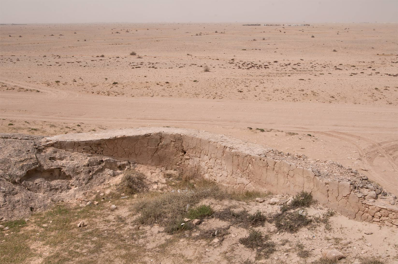 Water dam on a rocky ridge of Jebel Fuwairit. Northern Qatar