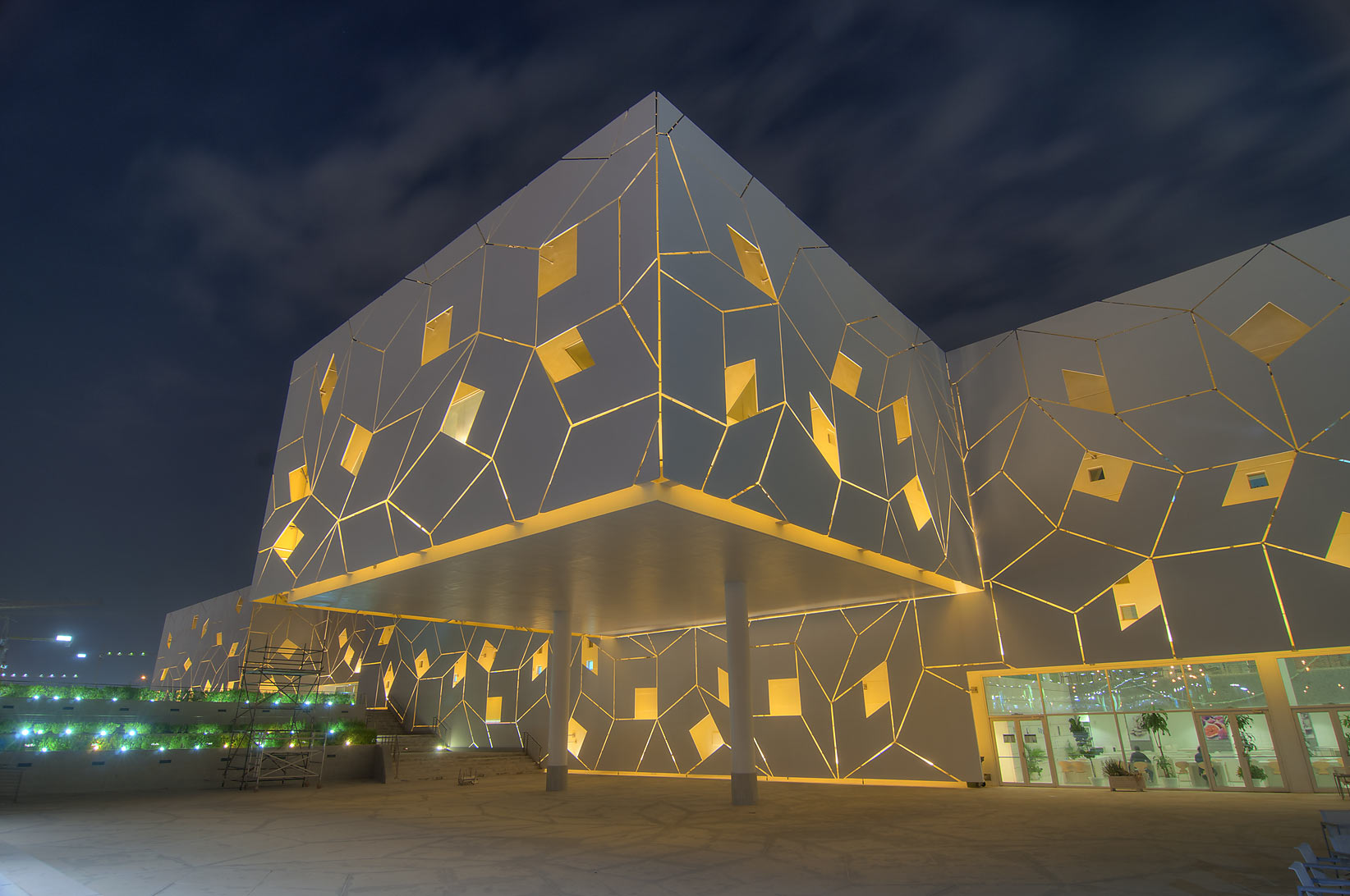 Dining hall of Liberal Arts and Science (LAS...City campus at evening. Doha, Qatar