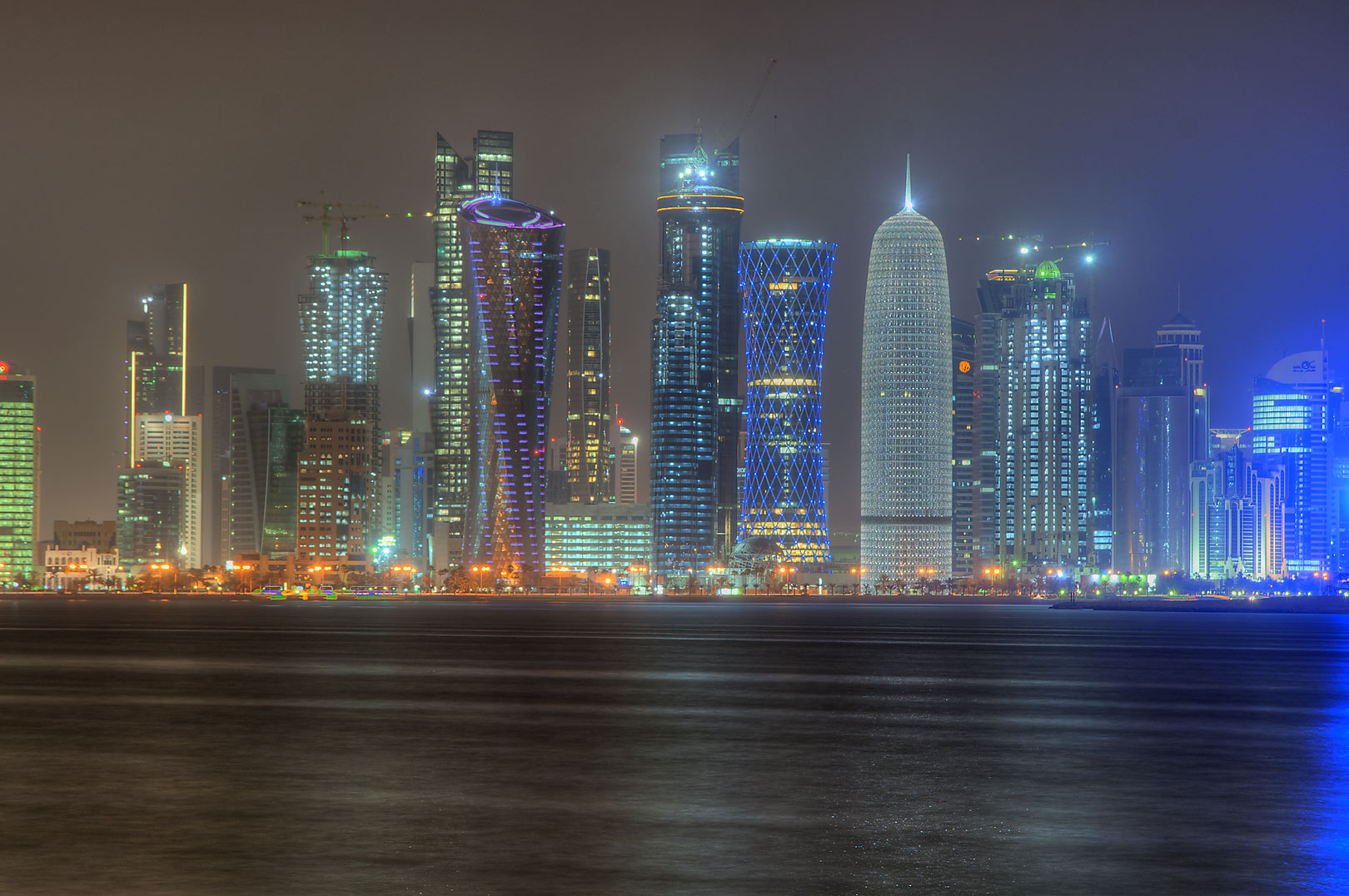 West Bay towers from Corniche opposite to Al Bidda Park. Doha, Qatar