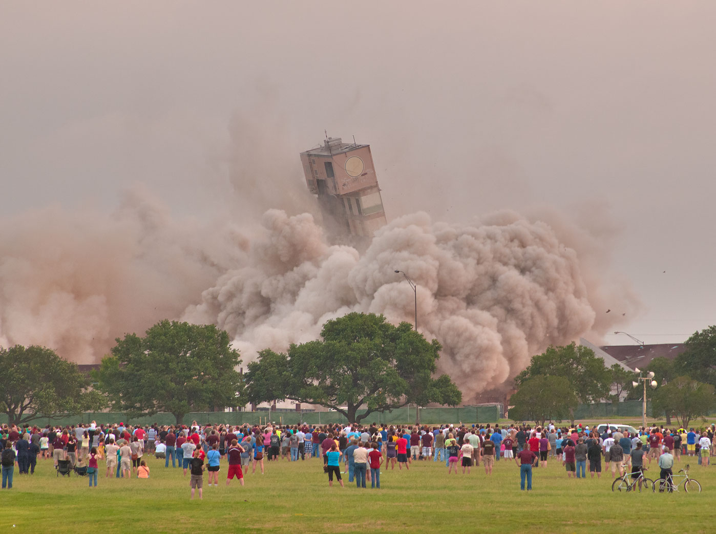 Last moment of implosion of the Plaza Hotel (Ramada Inn). College Station, Texas