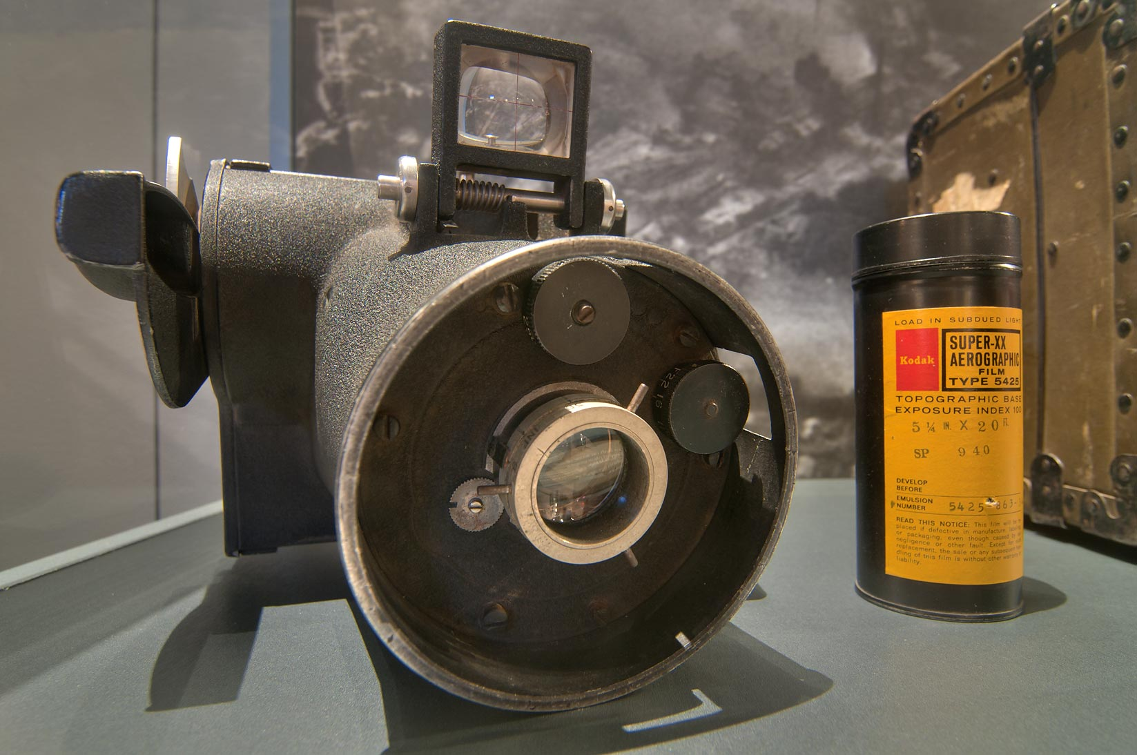 Aerographic camera and film in George Bush Library and Museum. College Station, Texas