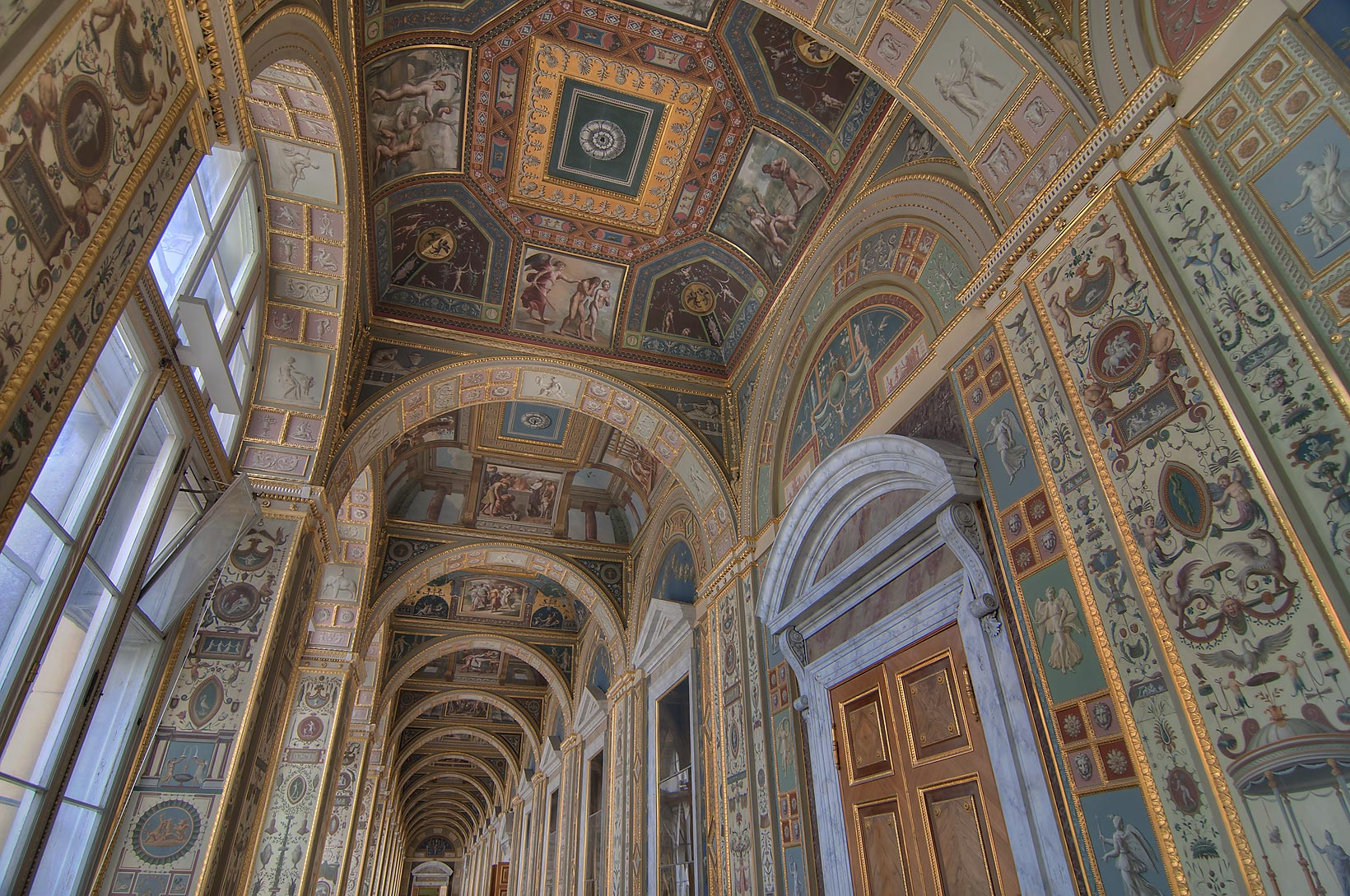 Vaults of a copy of Raphael Loggias in Hermitage Museum. St.Petersburg, Russia
