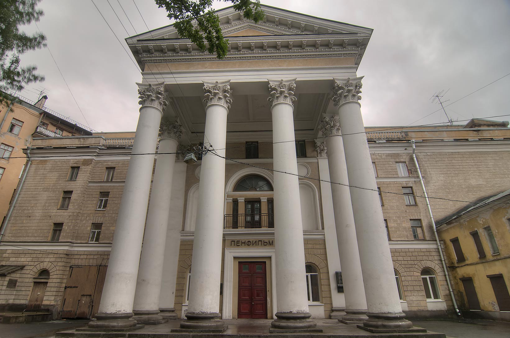 Front entrance of Lenfilm film production enterprise. St.Petersburg. Russia