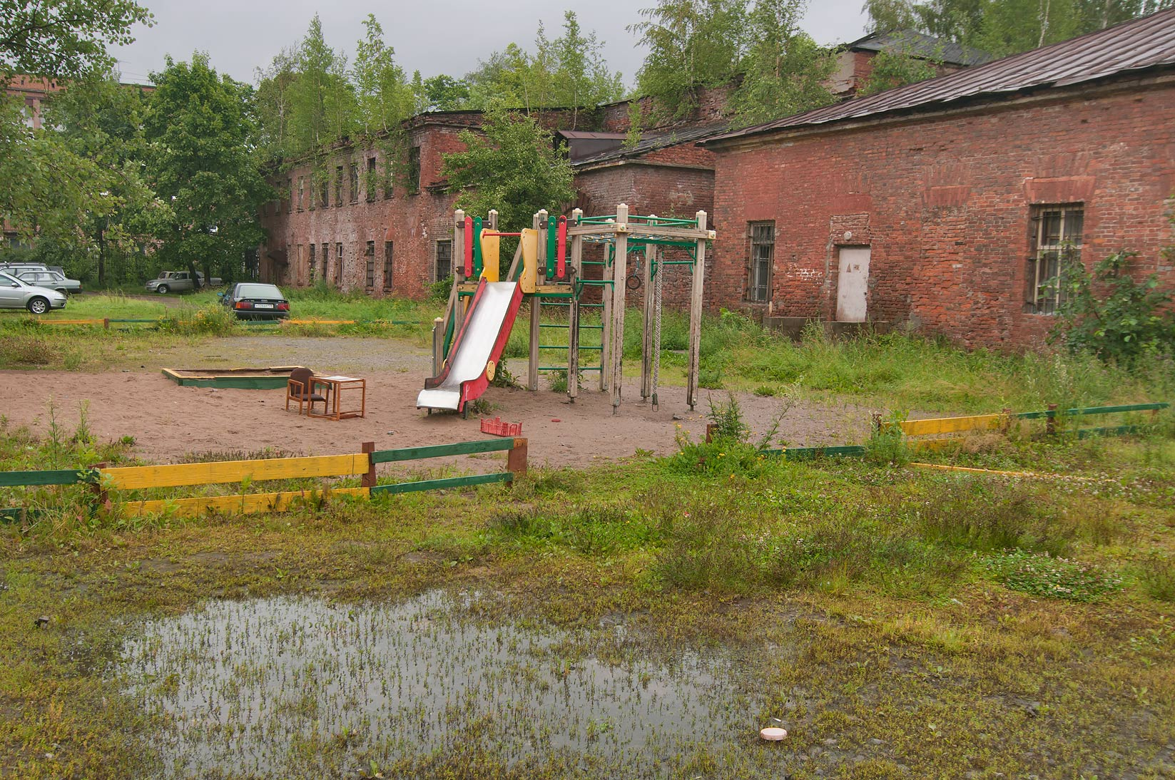 Swampy children's playground near Sovetskaya St. in Kronstadt. St.Petersburg, Russia