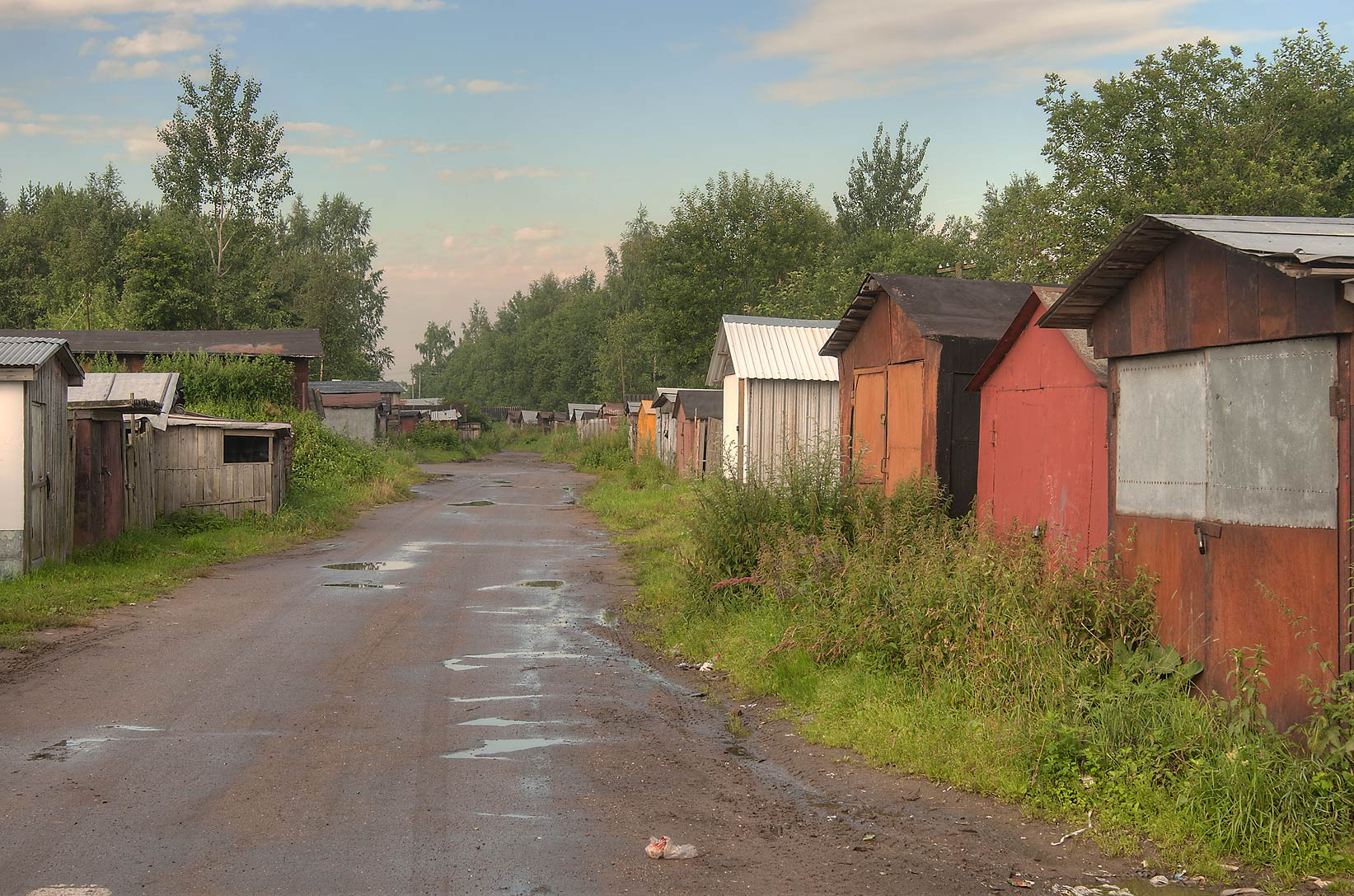 Shack alley (old garages) in Lavriki, 2 miles north from St.Petersburg. Russia
