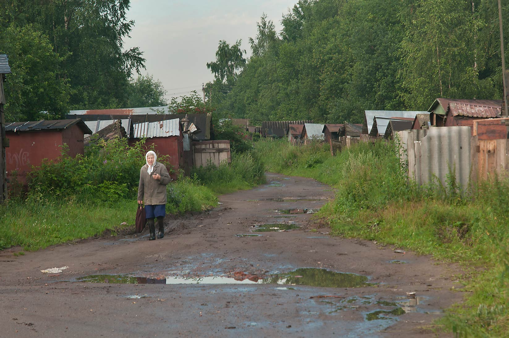 Shacks (old garages) in Lavriki, 2 miles north from St.Petersburg. Russia