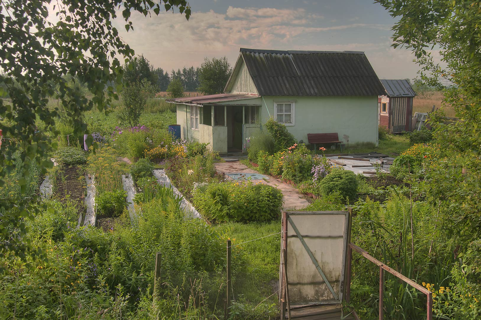 Typical summer house (Dacha) with a kitchen...miles north from St.Petersburg. Russia