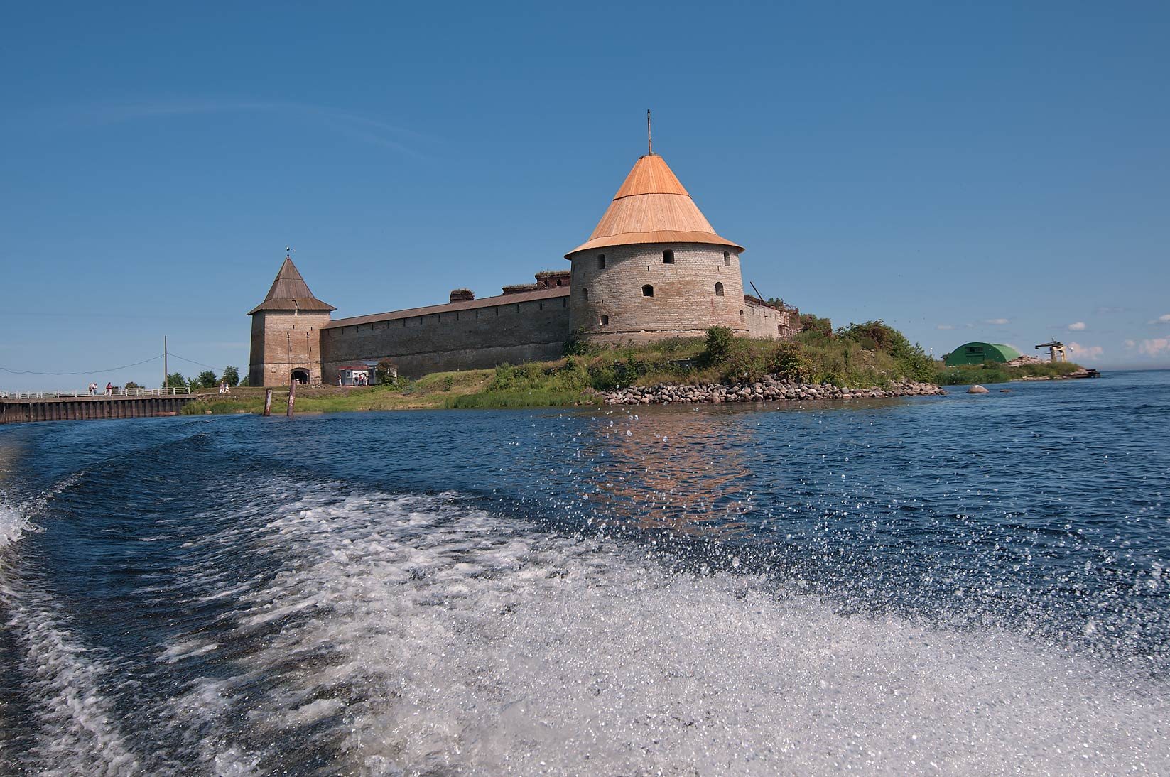 Golovin Tower of Shlisselburg Fortress, view from...Island, Leningradskaya Region, Russia