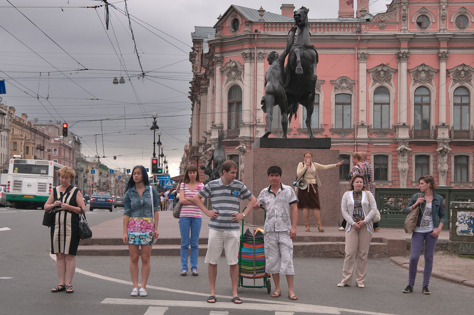 Nevsky Prospect (main street of the city) near Anichkov Bridge. St.Petersburg, Russia