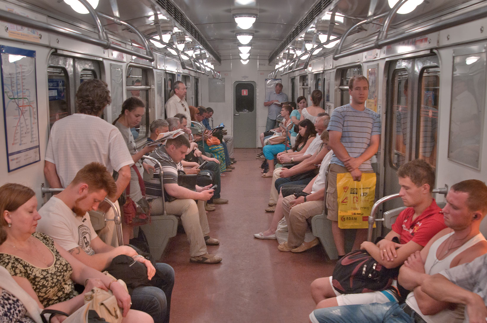 Passengers in a train carriage of Metro (subway). St.Petersburg, Russia
