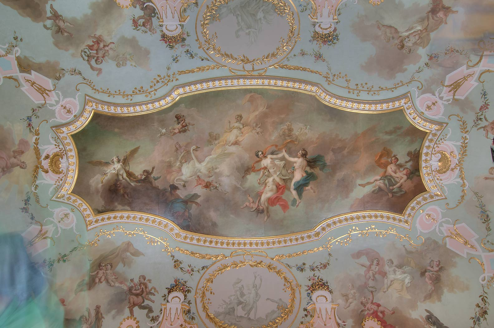 Ceiling of Chinese Palace. Oranienbaum (Lomonosov...miles west from St.Petersburg, Russia