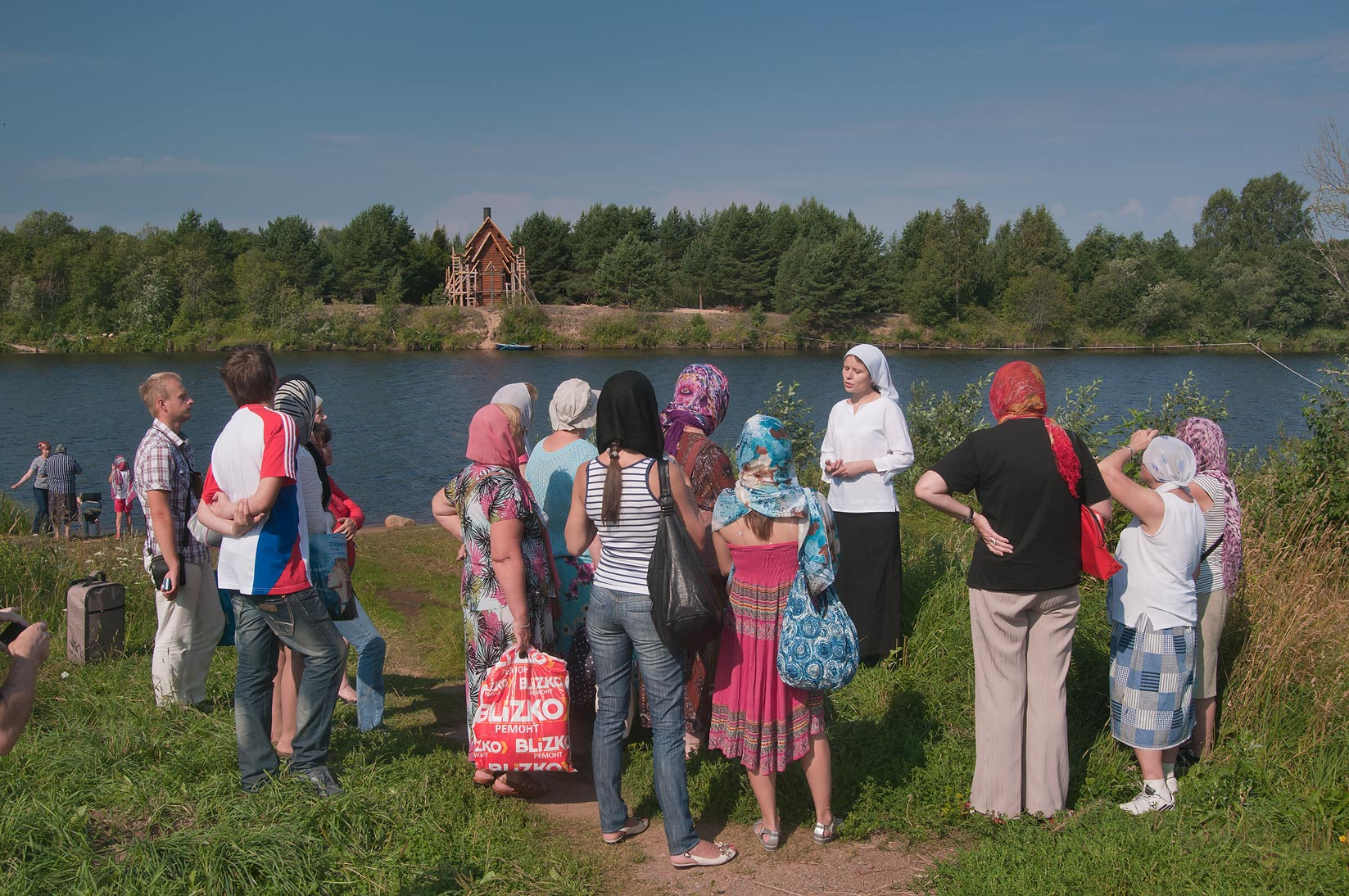 Excursion on a shore of Oyat River in Sovkhoz...Pole. Leningrad Region, Russia