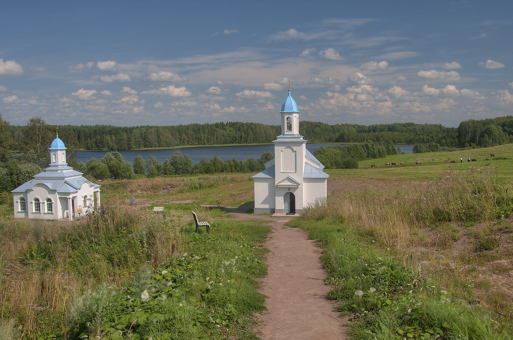 Cathedrals near Pogostskoe Lake in Pokrovo...Pole, Leningrad Region, Russia