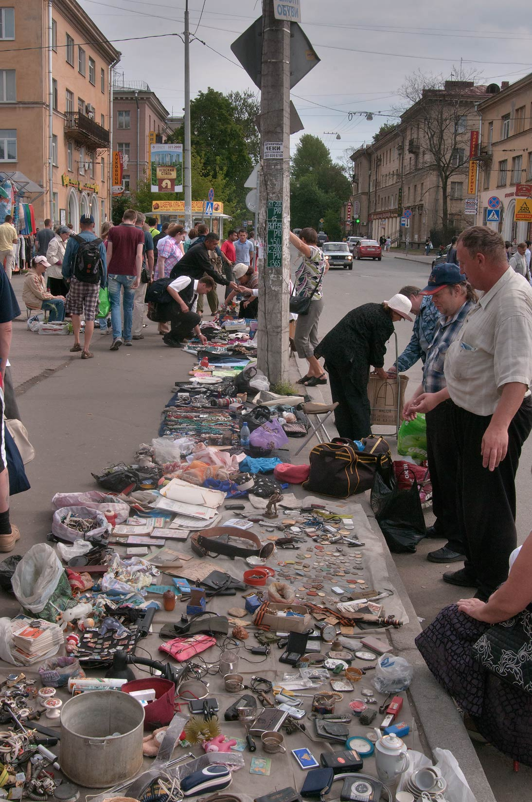 Household items sold on flea market at Udelnaya Train Station. St.Petersburg, Russia