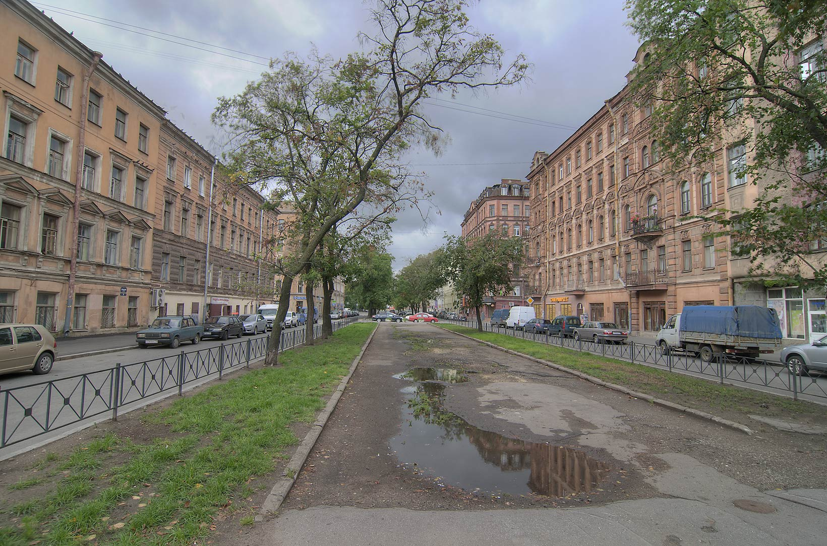 Boulevard of Serpukhovskaya St. in Sementsy area. St.Petersburg, Russia