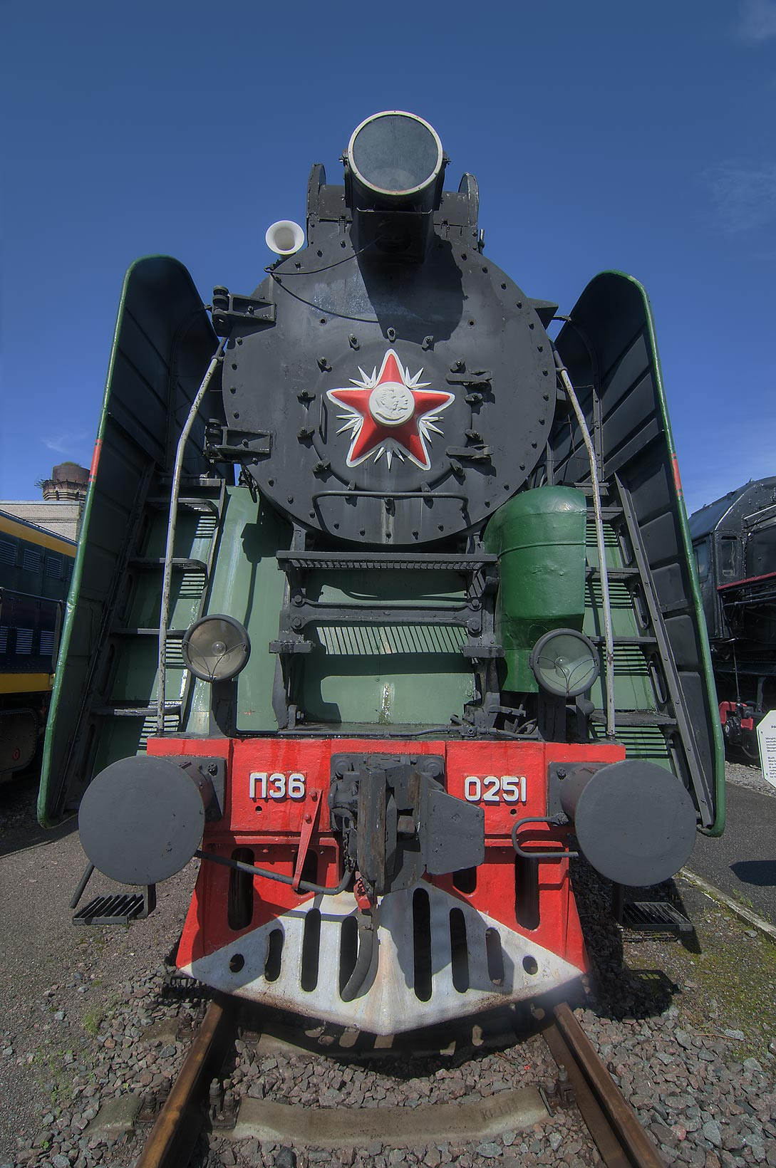 Steam engine train in a railroad museum on Varshavsky Train Station. St.Petersburg, Russia