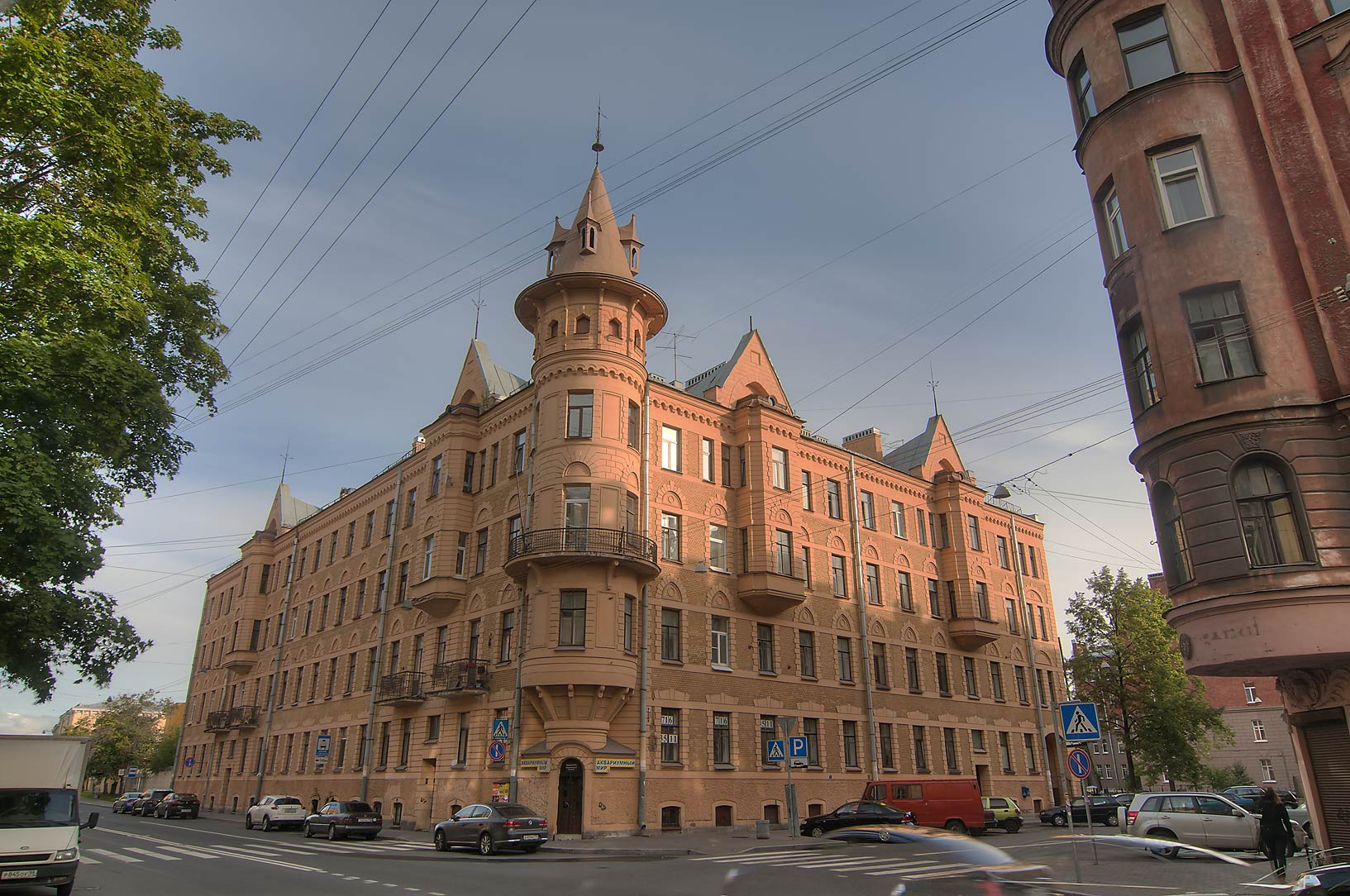 House with turrets on Pionerskaya St. in...neighborhood. St.Petersburg, Russia