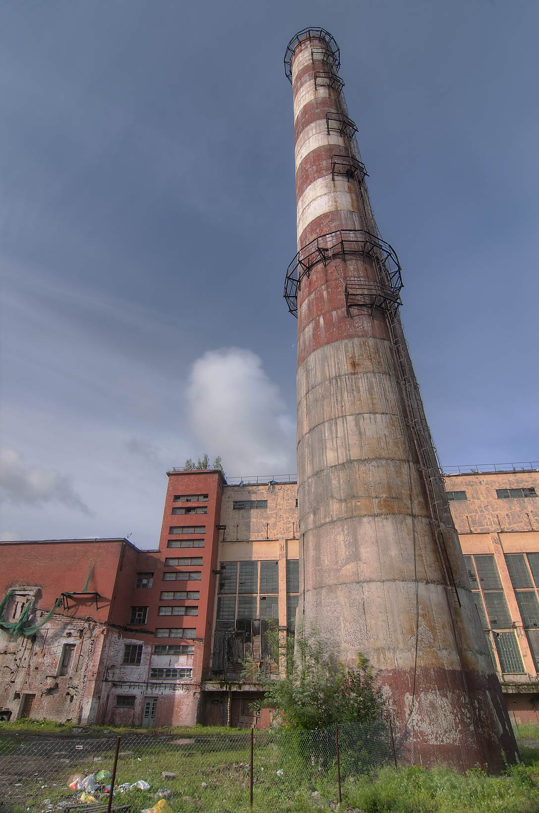 Smokestack of Red Banner (Krasnoe Znamia) Textile...neighborhood. St.Petersburg, Russia