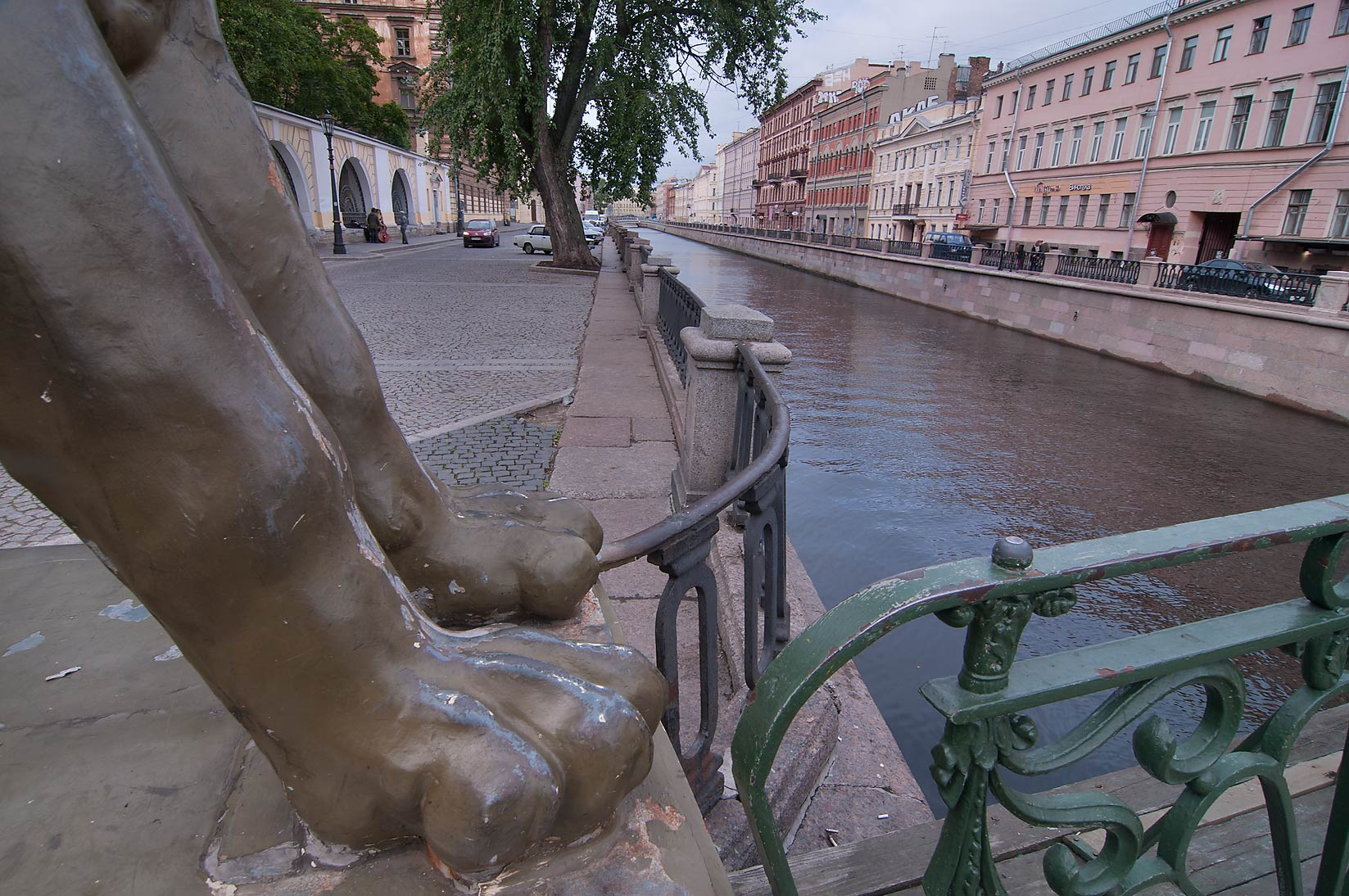 Gryphon's paws on Bankovsky Bridge of Griboedov Canal. St.Petersburg, Russia