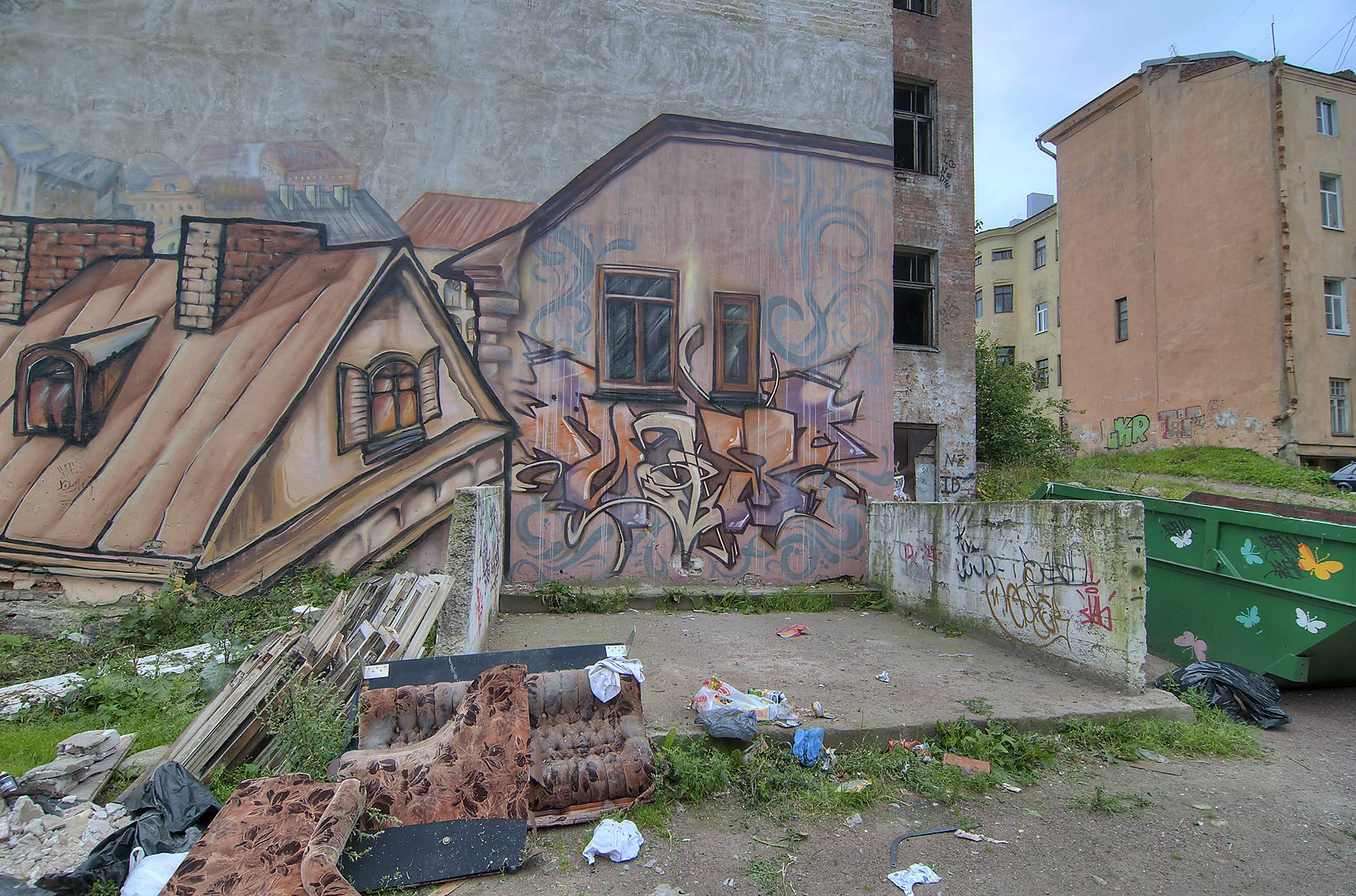 Graffiti on Goving House from Novoy Zastavy St.. Vyborg, Russia