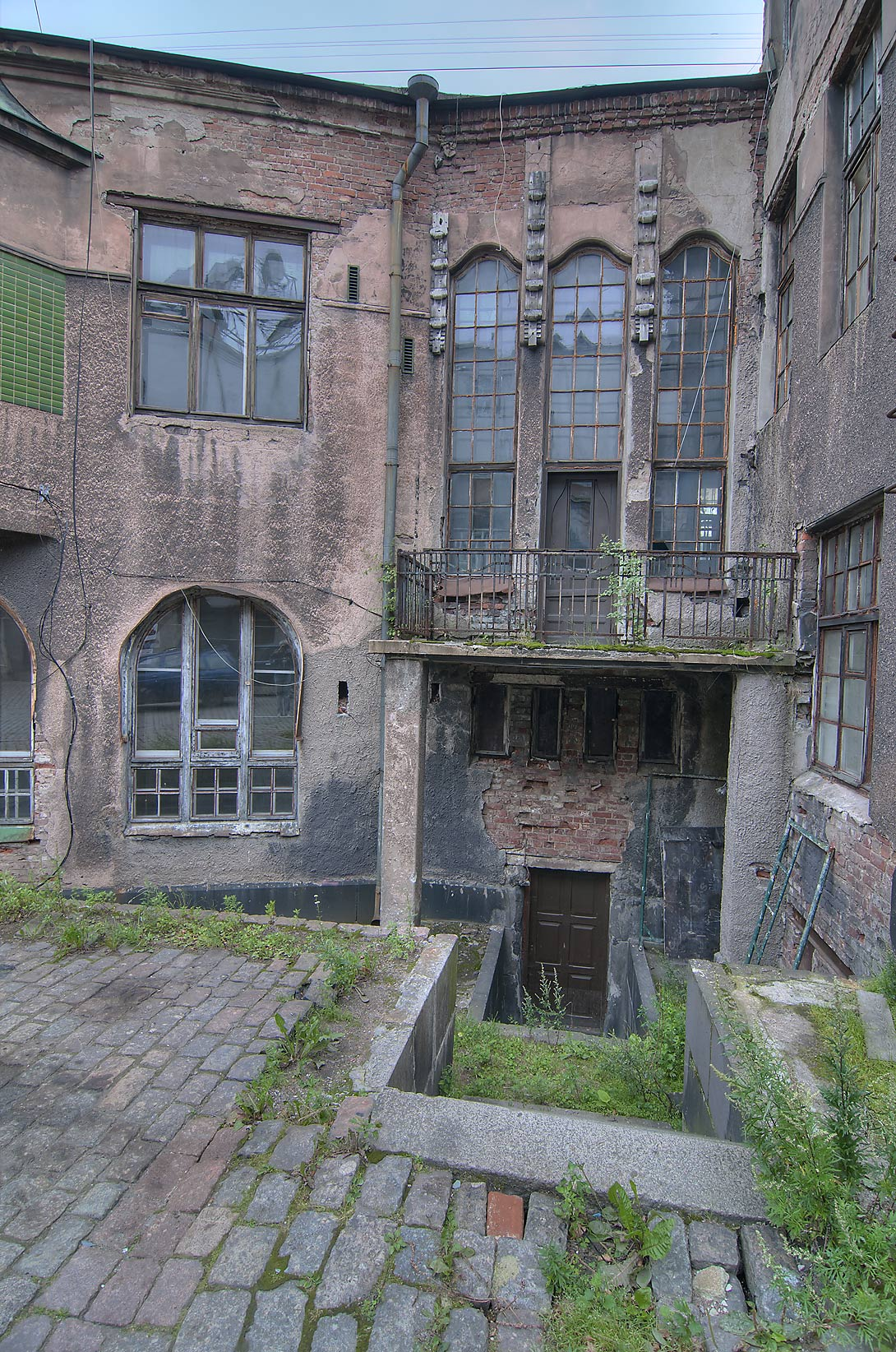 Courtyard of Wilhelm Hackman House on Podgornaya St.. Vyborg, Russia