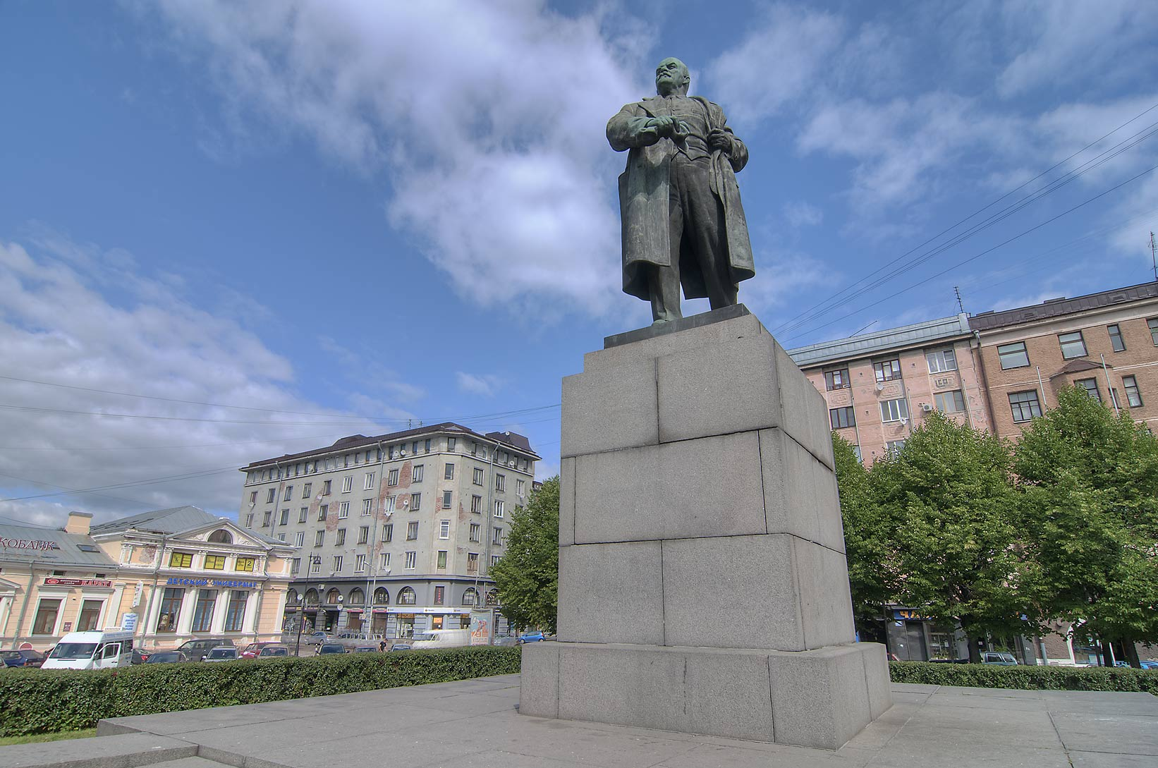 Monument of Russian revolutioner V. I. Lenin on central city square. Vyborg, Russia
