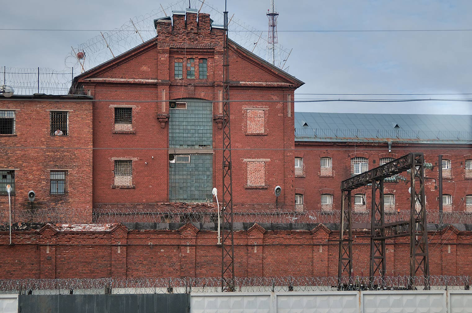 Old city prison, view from a window of a train. Vyborg, Russia