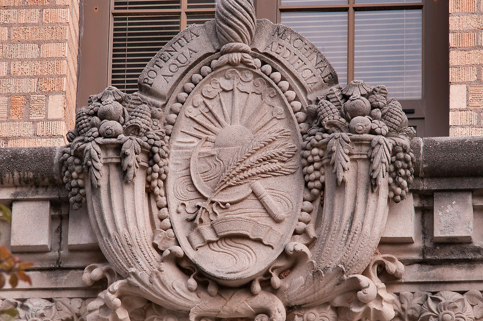 Decoration over the entrance of Agricultural...M University. College Station, Texas