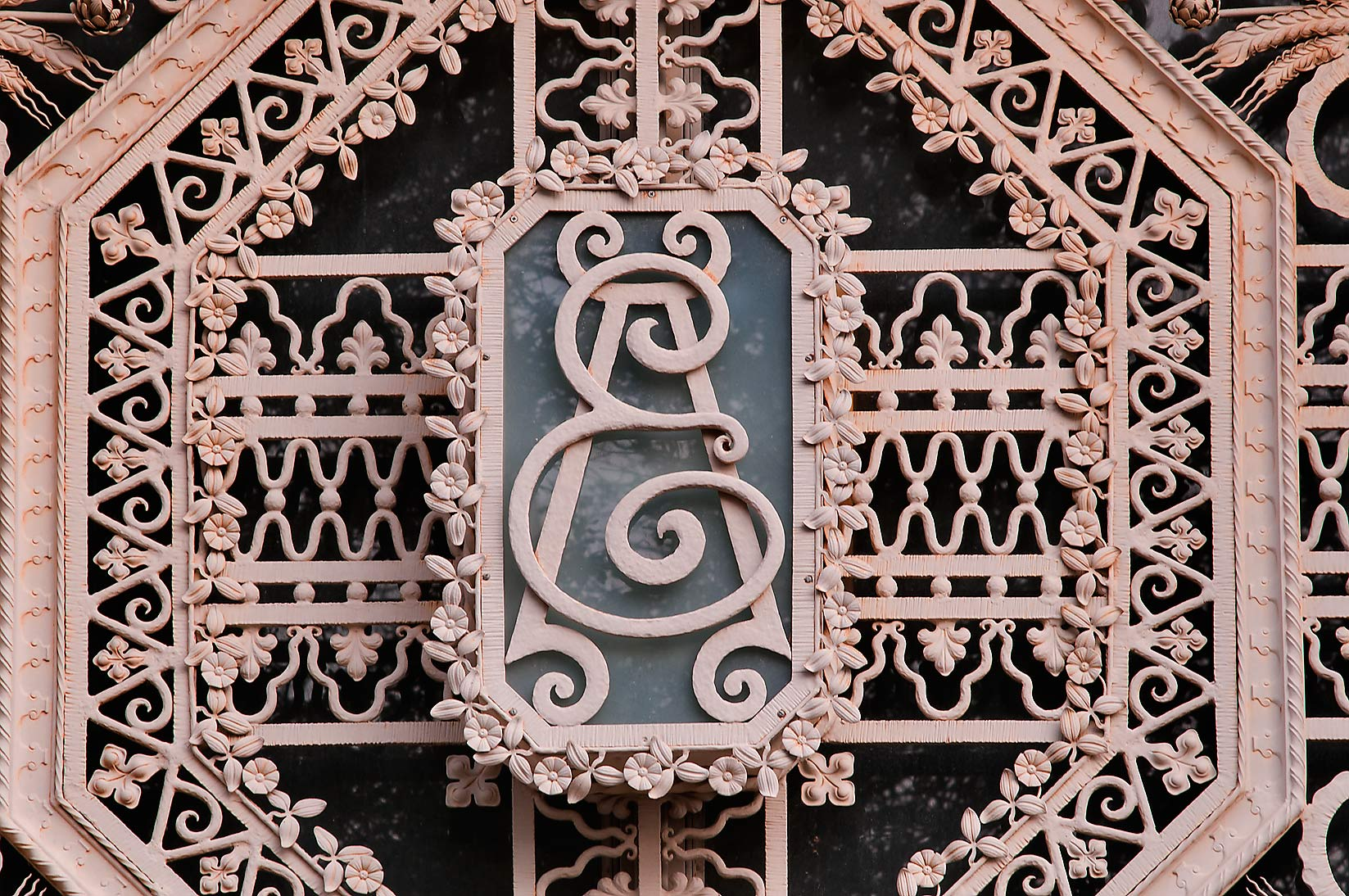 Ironwork at entrance of Agricultural Engineering...M University. College Station, Texas
