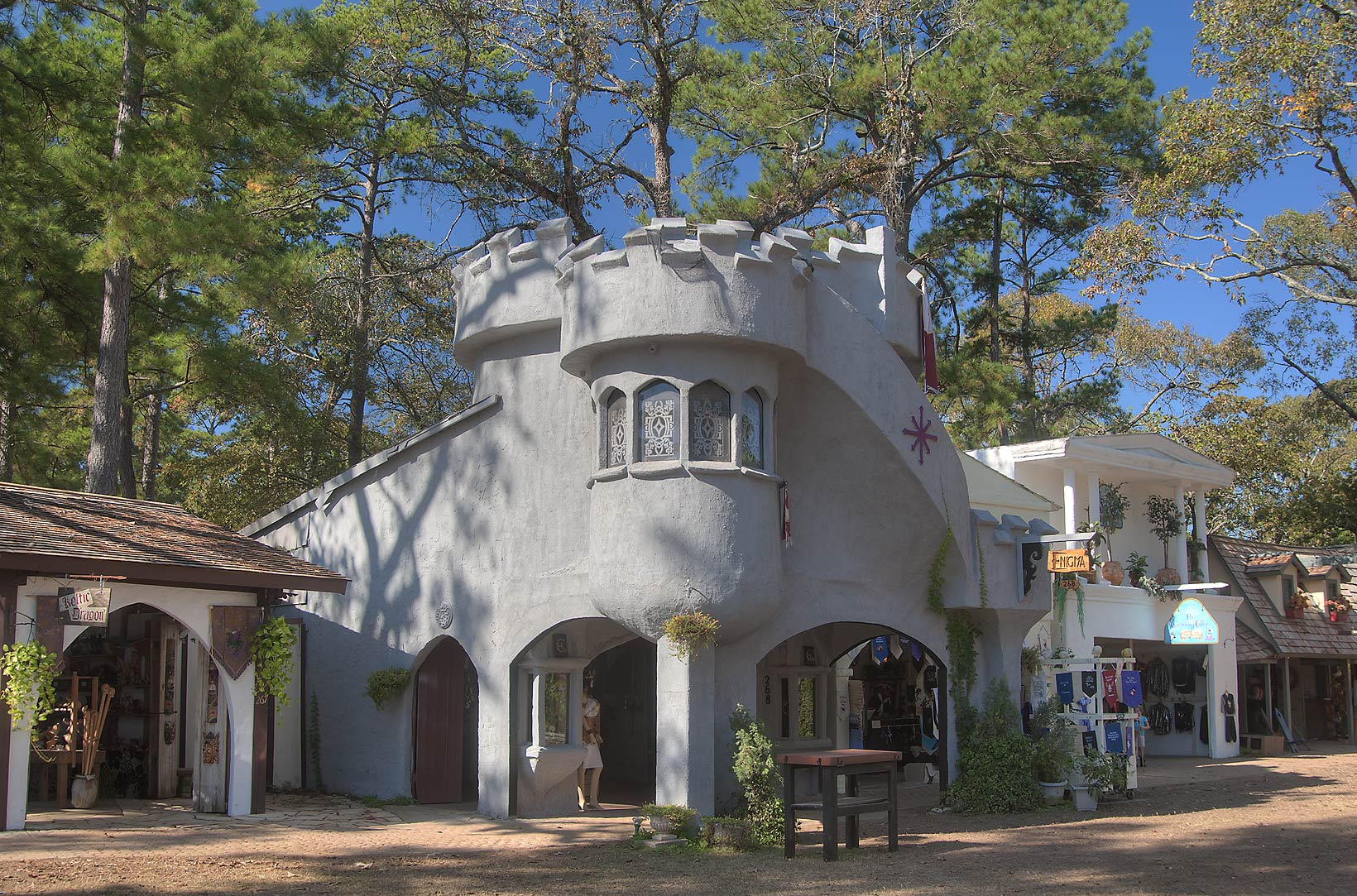 A shop styled as a fortress at Texas Renaissance Festival. Plantersville, Texas