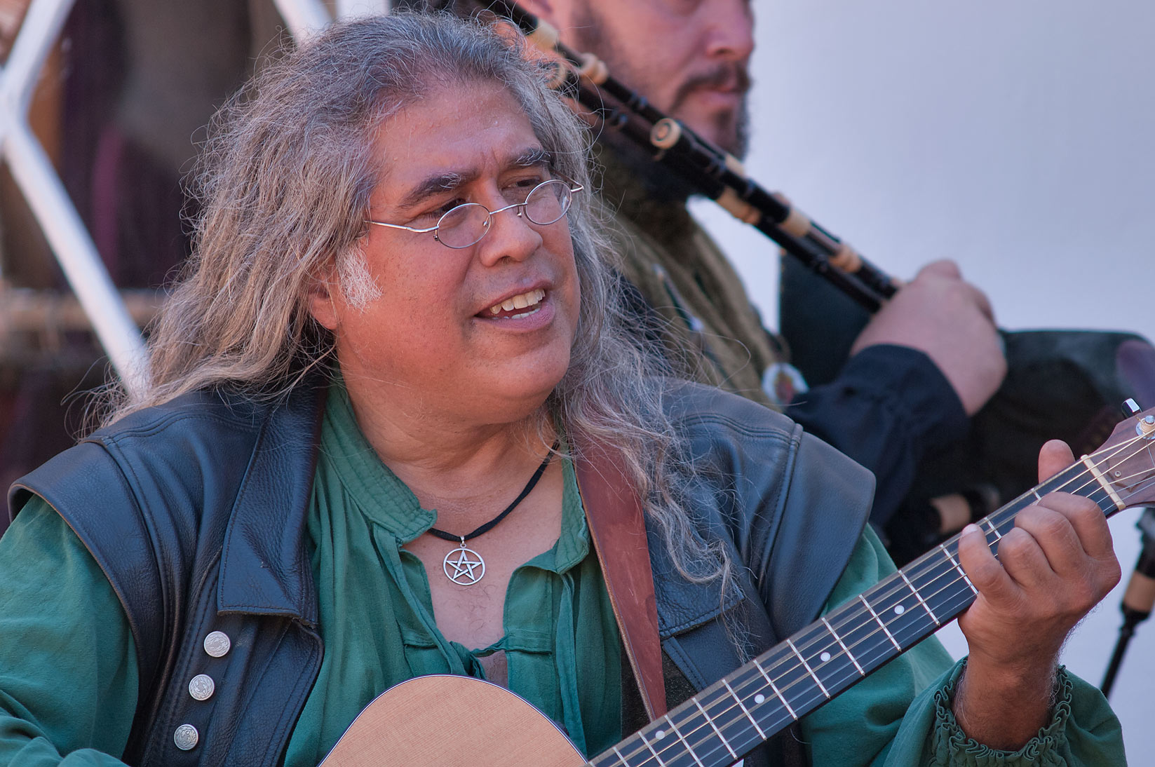 Singer of folk music at Texas Renaissance Festival. Plantersville, Texas