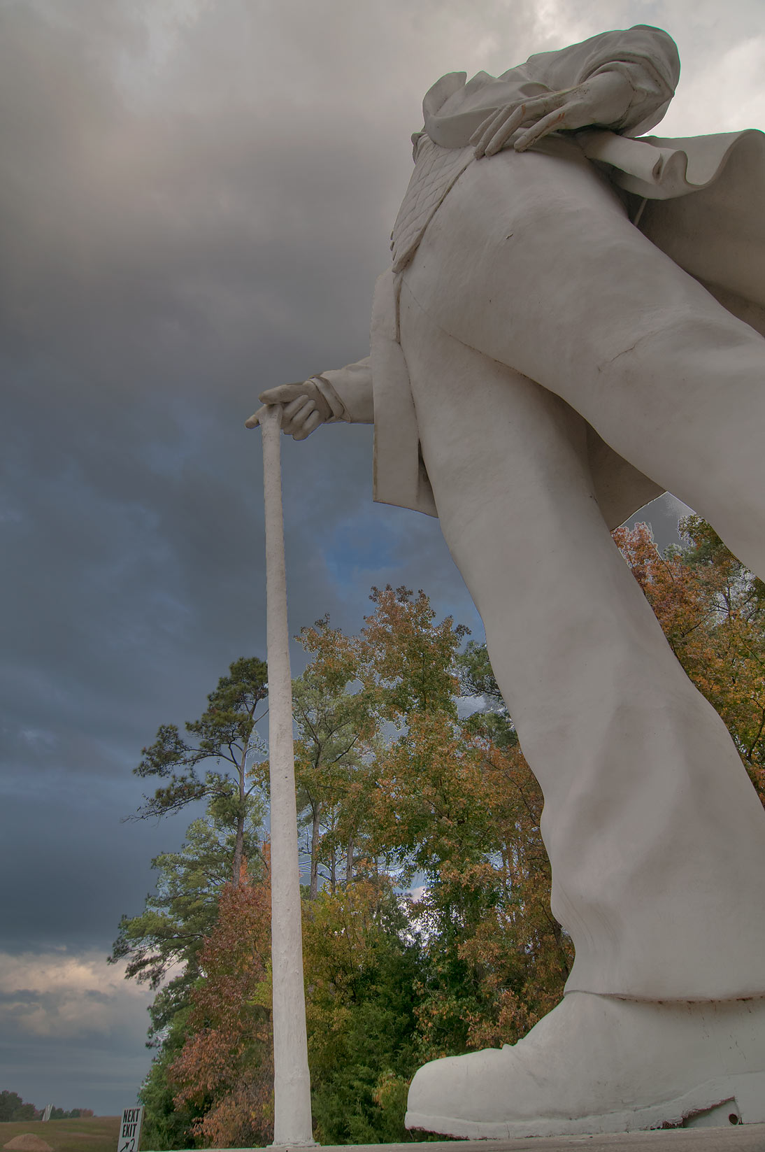 Giant statue of Sam Houston on Highway 45, view from its feet. Huntsville, Texas
