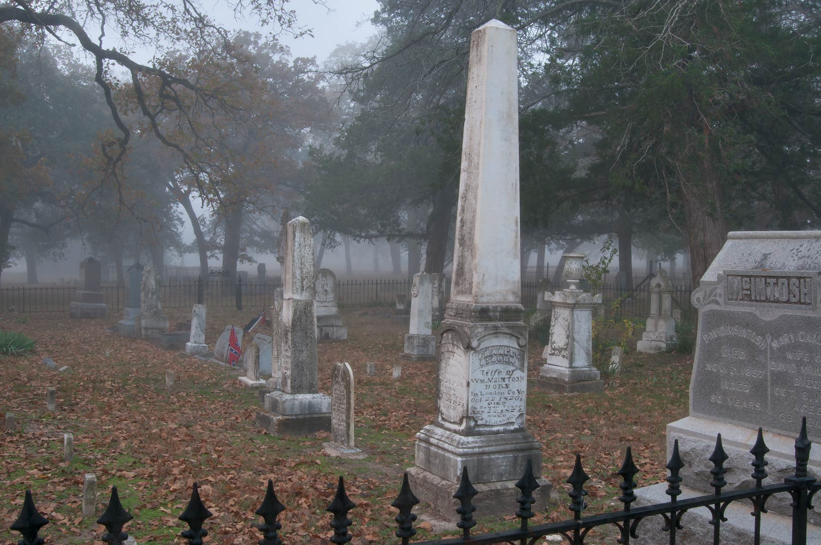 Tombs of Boonville Cemetery in fog. Bryan, Texas