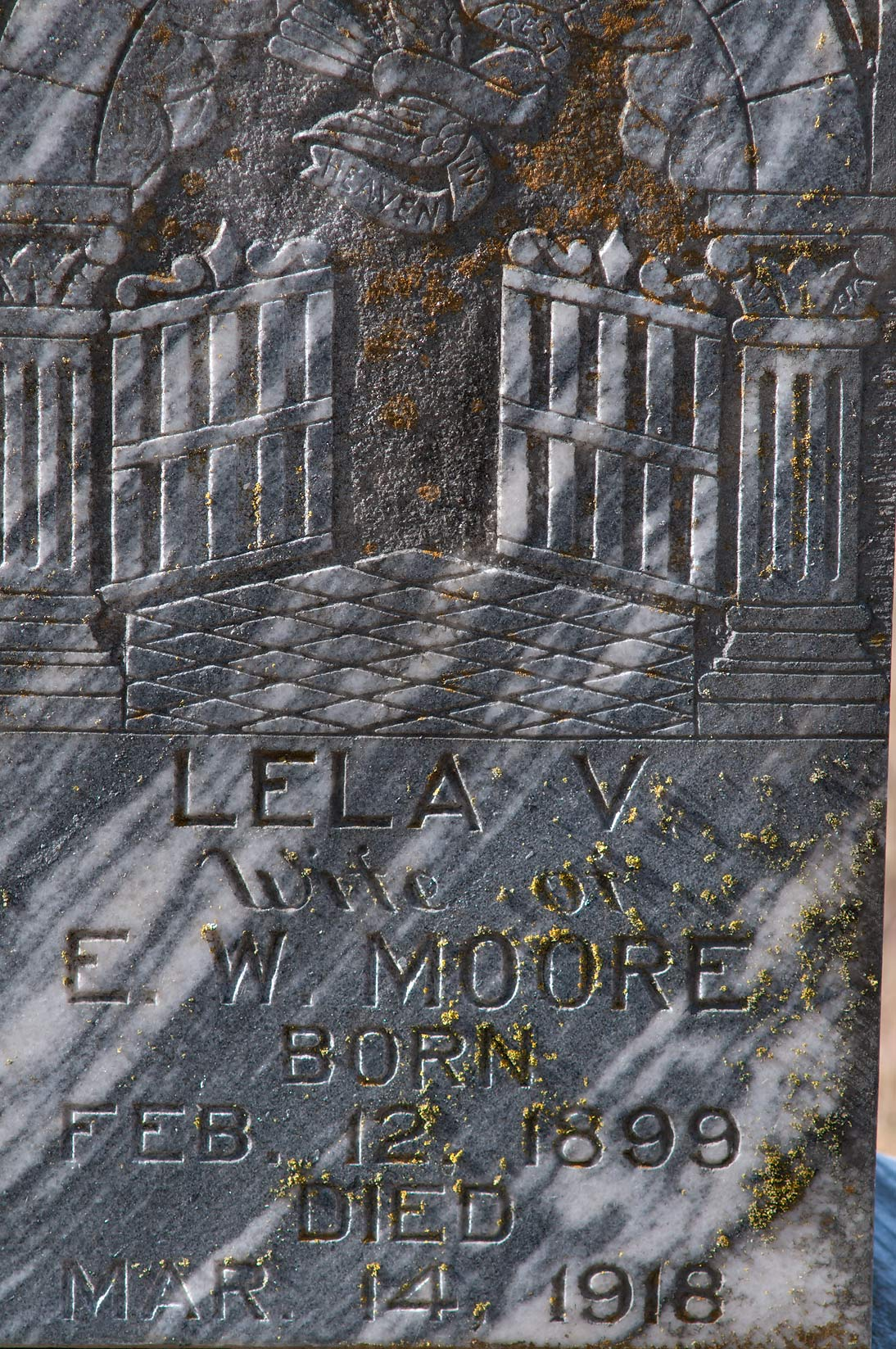 Art Deco tomb of E. W. Moore at Rice Cemetery at Rd. 241 near Cameron. Texas