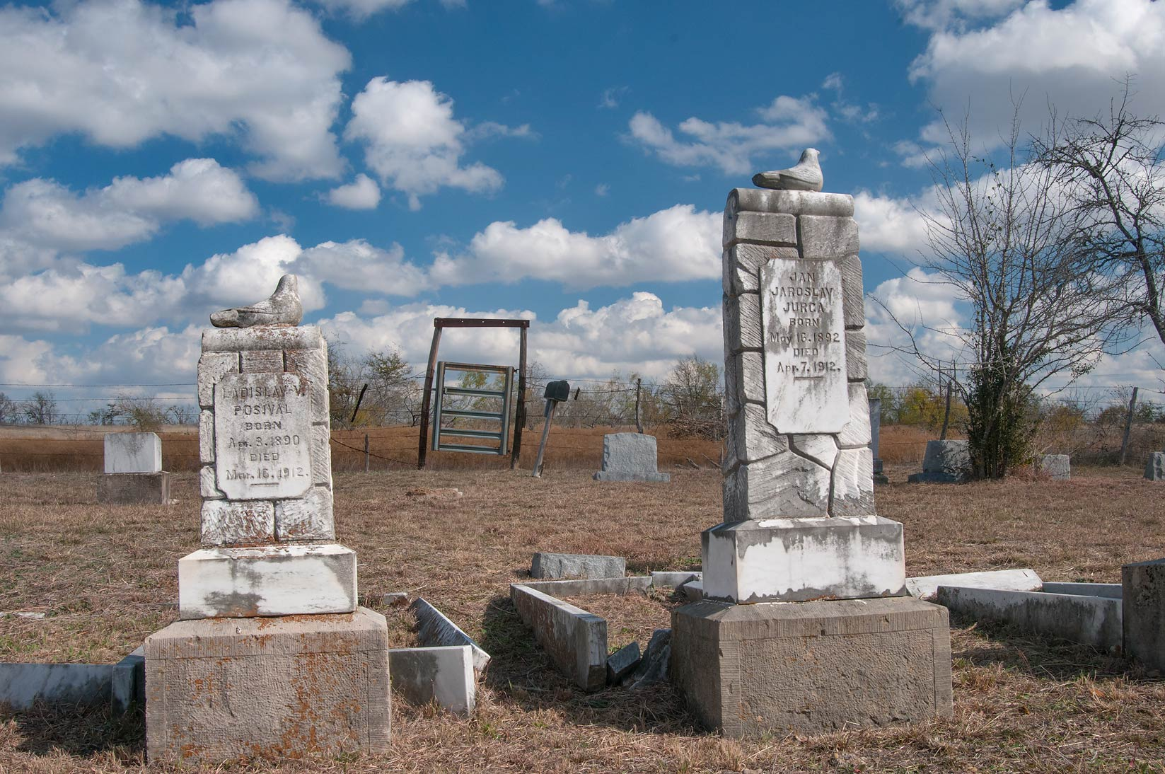 Tombstones in Bryant Station Cemetery near Buckholts. Texas