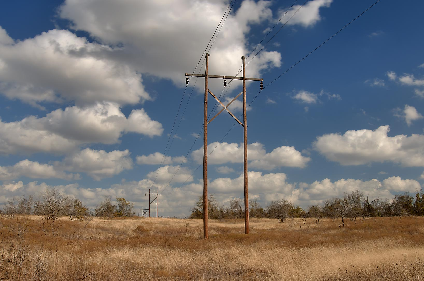 Power lines on a site of Bryant Station near Buckholts. Texas