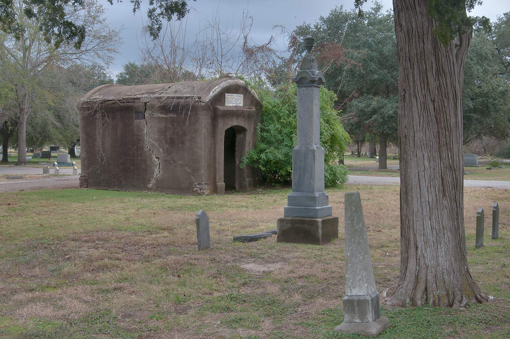 Tombs and a crypt in City Cemetery. Bryan, Texas