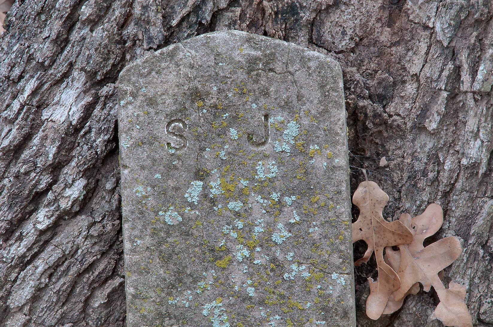 "Mysterious tombstone marked by letters ""S J"" in City Cemetery. Bryan, Texas"
