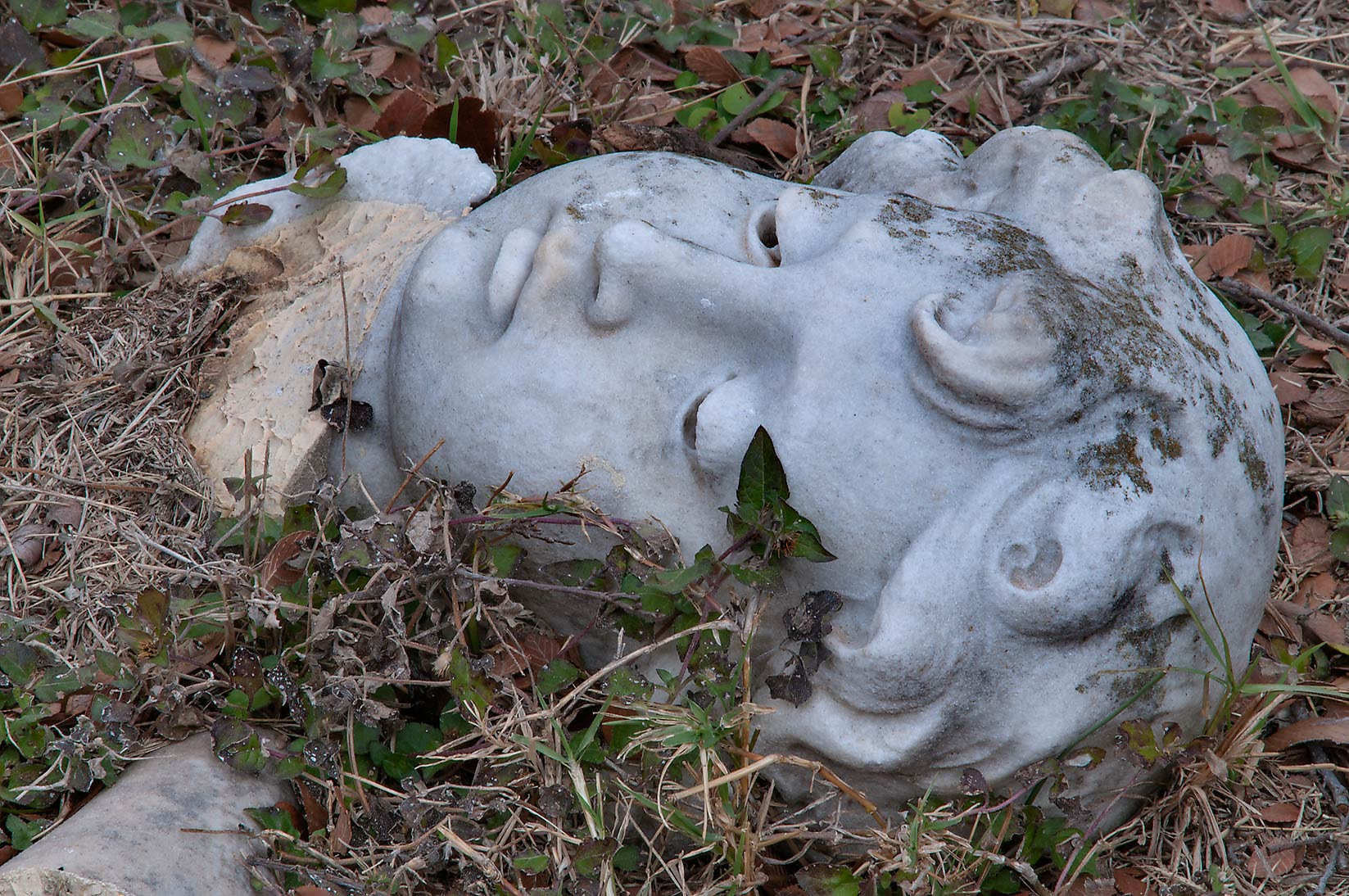 Detached head on a tomb of Kate in City Cemetery. Bryan, Texas