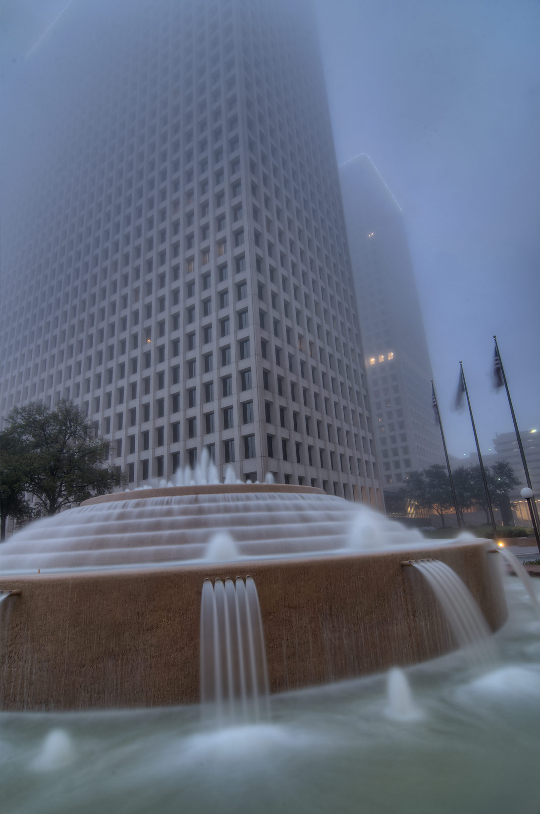 Fountain in downtown in fog. Houston, Texas