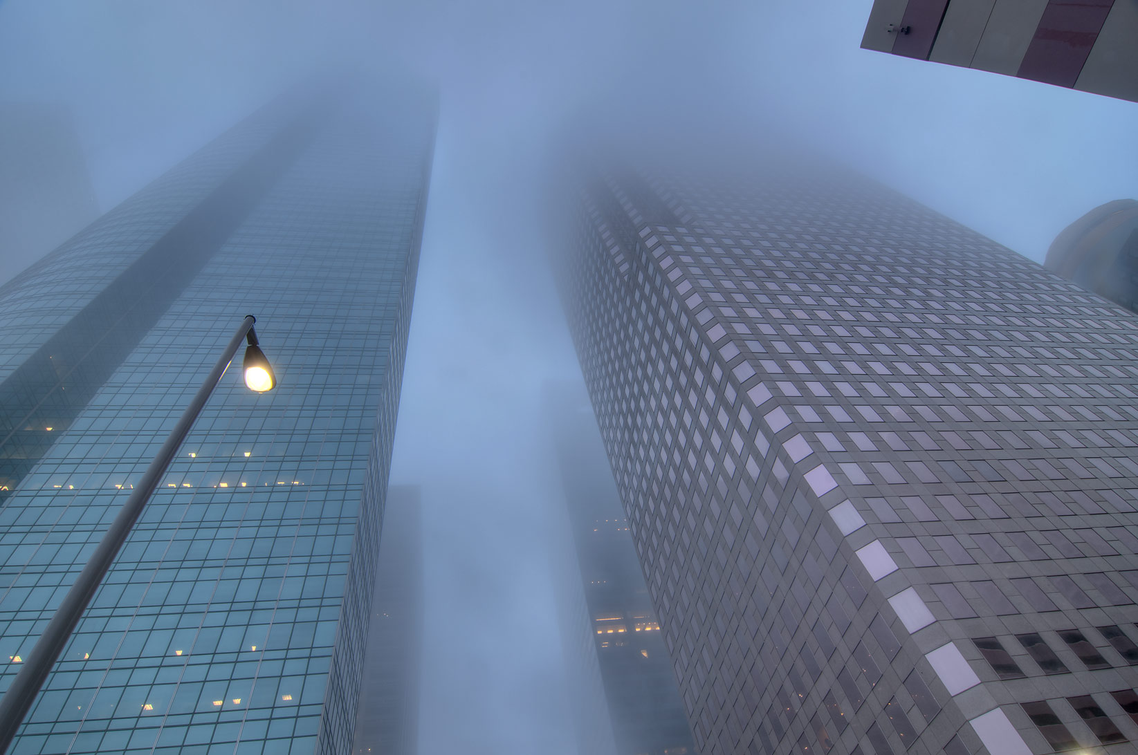 Buildings in downtown in fog. Houston, Texas