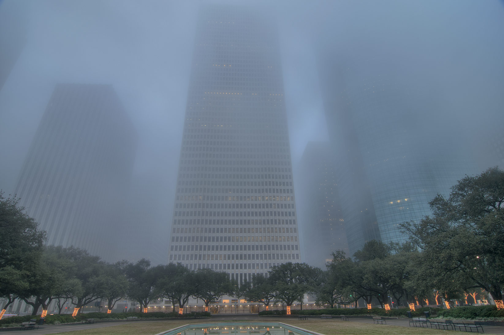 View from City Hall in downtown in fog. Houston, Texas