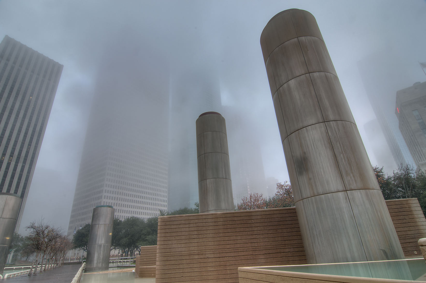 Fountains of Tranquility Park in fog. Houston, Texas