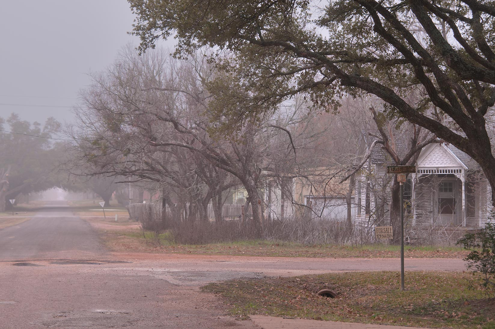 A corner of Kezee and China streets in fog. Calvert, Texas