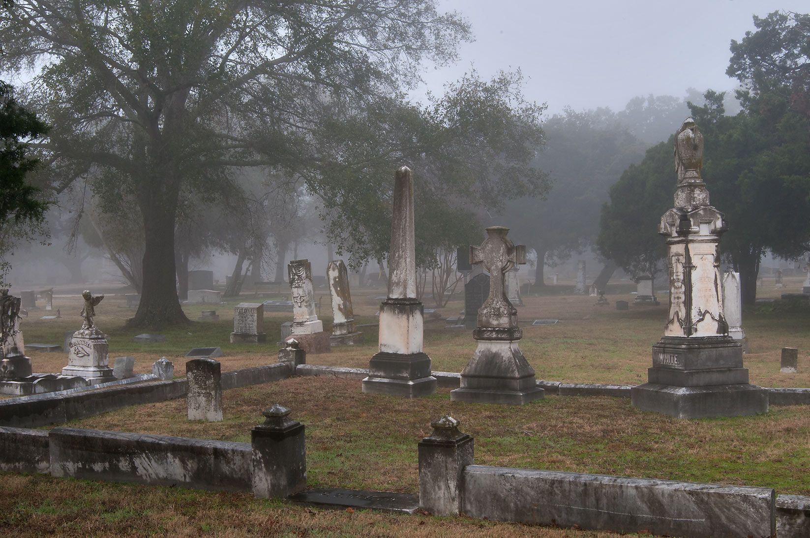 Family tomb in City Cemetery in fog. Bryan, Texas