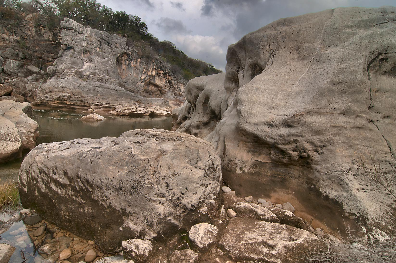 Giant boulder in Pedernales Falls State Park. Johnson City, Texas