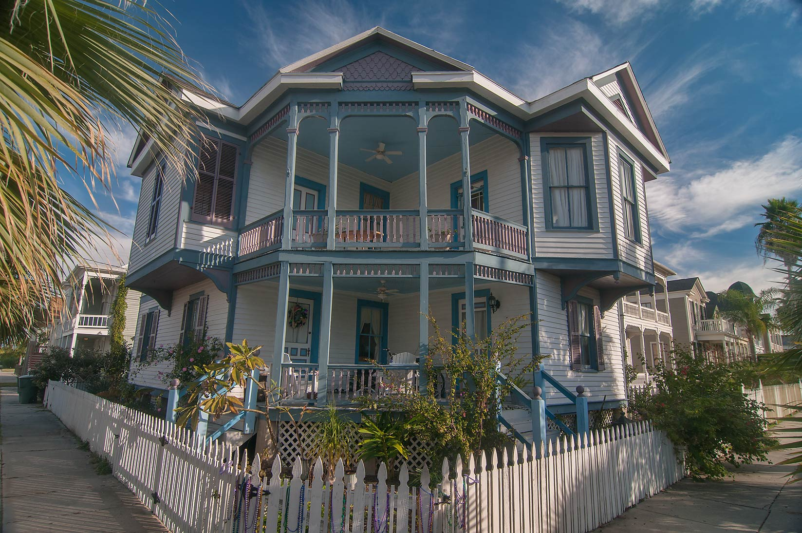 Blue house at a corner of Ball and 17th streets...Historic District. Galveston, Texas