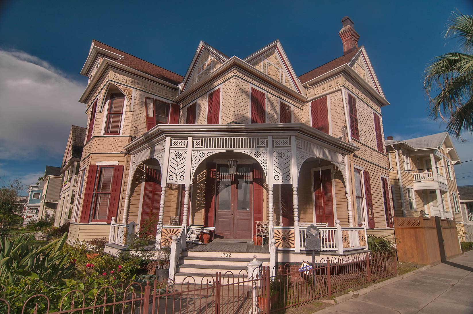 A corner of Beissner House (1887) at 1702 Ball St...Historic District. Galveston, Texas