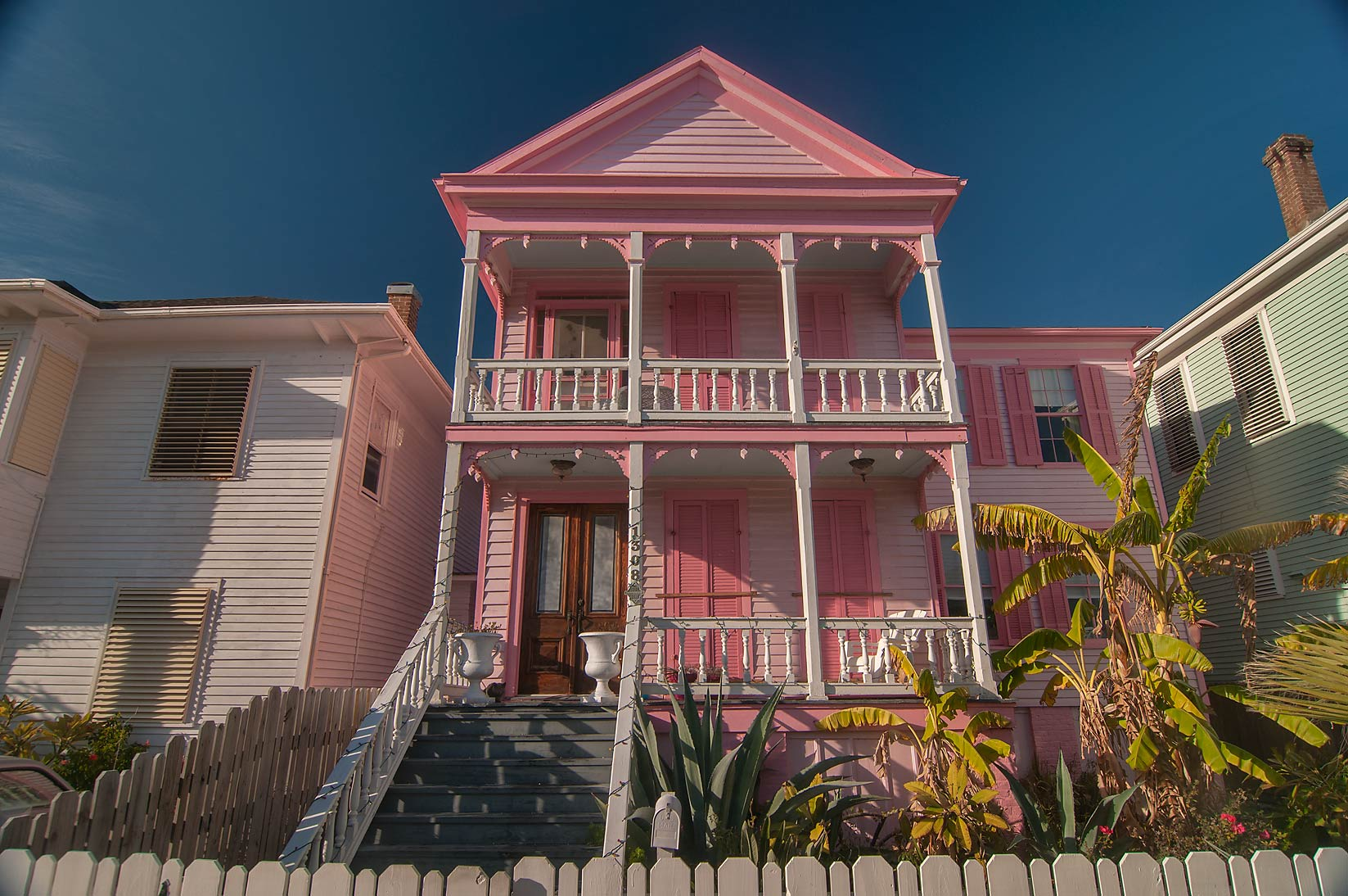 Pink house at 1400-1498 Church Rear St. in East End Historic District. Galveston, Texas